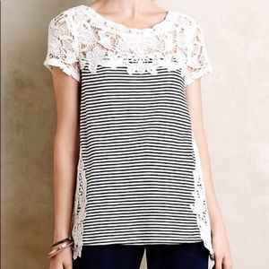 Anthropologie meadow rue lace striped top XS